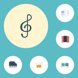 Teclado liso da oitava dos ícones, tremor, pandeiro e outros elementos do vetor O grupo de símbolos lisos audio dos ícones igualm ilustração royalty free