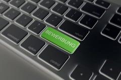 Teclado - llave del verde de Bewerbung imagenes de archivo