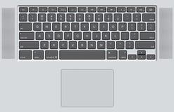 Teclado negro del ordenador portátil blanco Imagenes de archivo