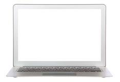 Teclado popular moderno de la computadora portátil con la pantalla blanca Imágenes de archivo libres de regalías