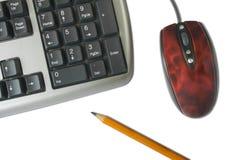 Teclado, ratón, lápiz Fotografía de archivo