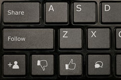 Teclado social da rede Imagens de Stock Royalty Free