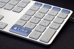 Teclado social de los media Foto de archivo
