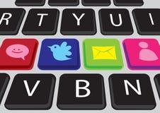 Teclado social de los media Foto de archivo libre de regalías