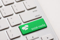 Teclado social dos meios foto de stock