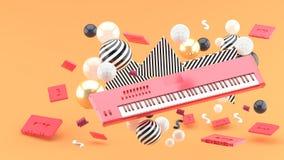 Teclado y papeleo de piano de Reed en medio de bolas coloridas en un fondo anaranjado stock de ilustración