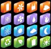 Teclas amigáveis quadradas de 3D Eco Imagem de Stock Royalty Free