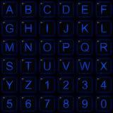 Teclas azuis do número do alfabeto do fulgor do quadrado preto Foto de Stock Royalty Free