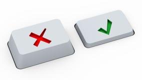 Teclas bem escolhidas direitas & erradas Imagem de Stock