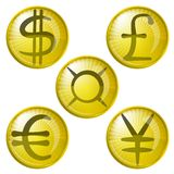 Teclas com sinais de moeda Fotos de Stock Royalty Free