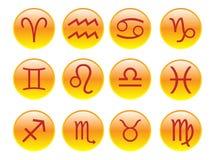 Teclas com sinais do zodíaco Imagem de Stock