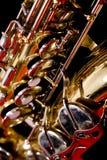 Teclas de Saxaphone do close up Imagens de Stock