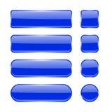 Teclas de vidro azuis Coleção de ícones brilhantes da relação de menu 3d Imagem de Stock Royalty Free