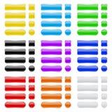 Teclas de vidro Coleção de ícones brilhantes coloridos da relação de menu 3d ilustração stock