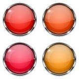 Teclas de vidro O círculo vermelho e alaranjado 3d abotoa-se com quadro do cromo Imagens de Stock Royalty Free