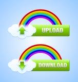 Teclas do Download e da transferência de arquivo pela rede Imagens de Stock