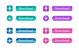 Teclas do Download Grupo de ícones coloridos da transferência Ilustração do vetor Imagens de Stock
