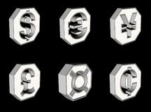 Teclas do símbolo de moeda Fotografia de Stock Royalty Free