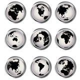 Teclas do Web com globos da terra Fotos de Stock