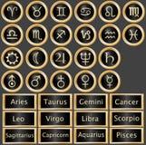 Teclas do Web da astrologia do zodíaco Foto de Stock