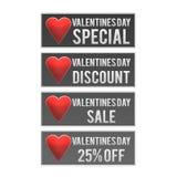 Teclas do Web do disconto do dia dos Valentim Foto de Stock