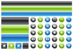 Teclas do Web do gel & ícones dos controles da música Imagem de Stock Royalty Free