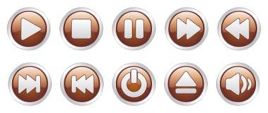 Teclas dos ícones do jogador (vetor) Fotos de Stock Royalty Free