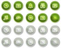 Teclas dos ícones do Web do organizador, as verdes e as cinzentas do círculo Fotos de Stock Royalty Free