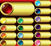 Teclas e quadro de vidro do ouro ilustração stock