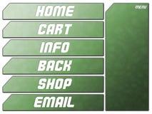 Teclas futuristas verdes da pedra da navegação do Web site ilustração royalty free