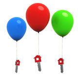 teclas HOME de la casa 3d que cuelgan en los globos coloridos Imagenes de archivo