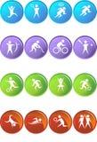 Teclas lustrosas quadradas atléticas - redondas Fotos de Stock Royalty Free