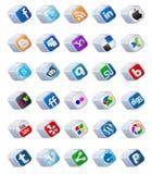 teclas sociais dos media ajustadas Fotos de Stock