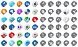 Teclas sociais dos media ajustadas Imagens de Stock