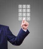 Teclas transparentes do telefone da pressão de mão fotos de stock royalty free