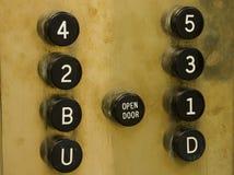 Teclas velhas do elevador fotografia de stock royalty free