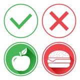 Teclas verdes e vermelhas Apple e cheeseburger A escolha entre o alimento insalubre e o alimento saud?vel Direita e erro Vetor ilustração stock