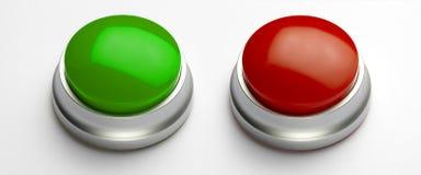 Teclas verdes e vermelhas em branco Fotografia de Stock