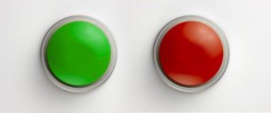 Teclas verdes e vermelhas em branco Foto de Stock Royalty Free