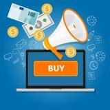 Tecleo del pago para comprar ventas en línea de Internet del comercio del dinero de la transacción libre illustration