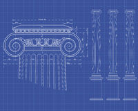Tecnic ionic column. Detail of ionic column with measures on technical background Royalty Free Stock Photo