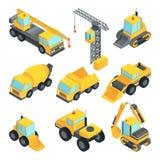 Tecnica differente per costruzione Automobili isometriche illustrazione di stock