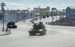 Tecnica nella parata militare Fotografia Stock
