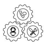 Tecnical repair service emblem icon Stock Photo