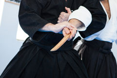 Tecniche di jujutsu Fotografia Stock Libera da Diritti