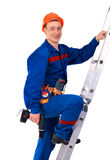 Tecnician on the step-ladder Royalty Free Stock Image