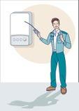 Tecnico Cheking del gas una caldaia Fotografia Stock