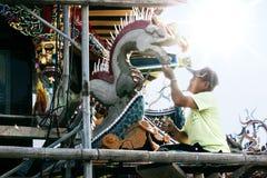 Tecnico della costruzione del tempio di Taiwan Immagini Stock Libere da Diritti