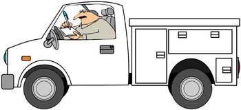 Tecnico di manutenzione in camion Immagine Stock