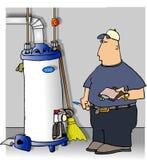 Tecnico di manutenzione che controlla un riscaldatore di acqua illustrazione di stock